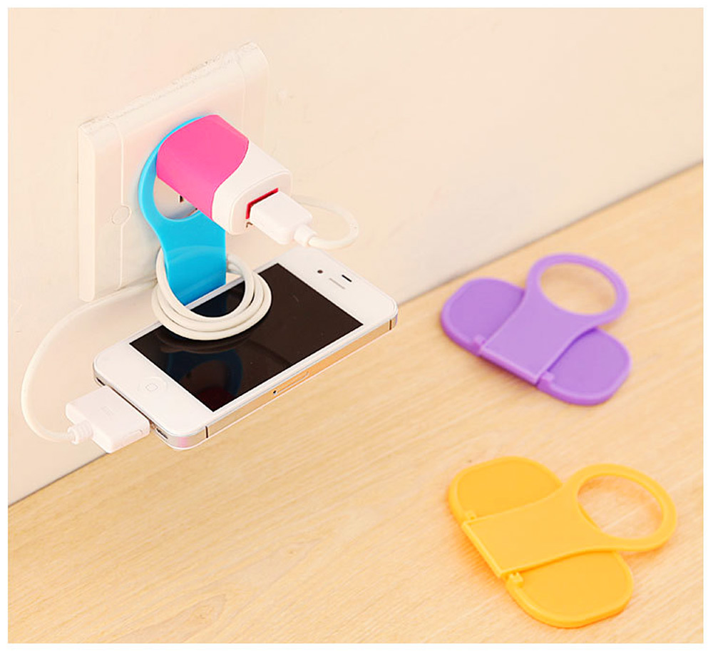 Creative Foldable Mobile Phone Charging Bracket Holder, Plastic Smart Phone Immobile Wall-Mounted Supporter Hanger 6