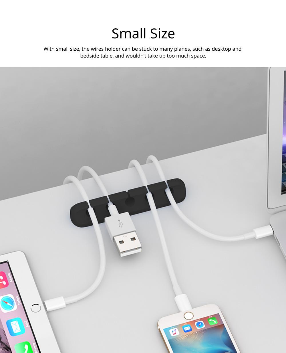 Soft Silica Desktop Gel Wires Fixer Holder, Silicone Data Lines USB Charging Lines Organizer Desk Management Assistance 3