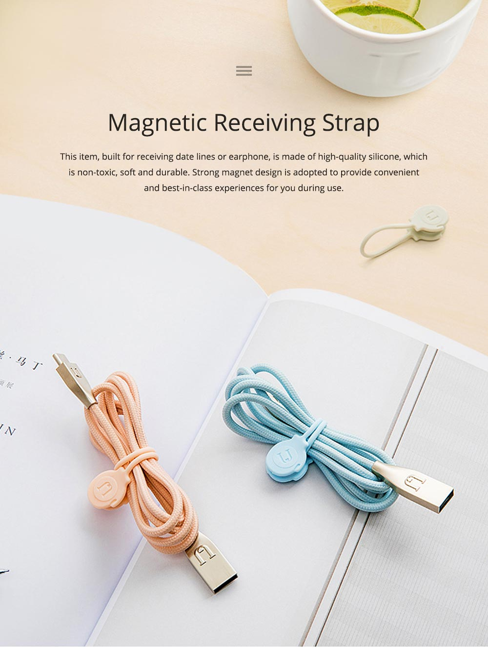 Minimalist 3PCS Magnetic Date Line Wire Organizer Strap, Soft Silicone Charging Line Earphone Wire Receiving Buckle Belt 0