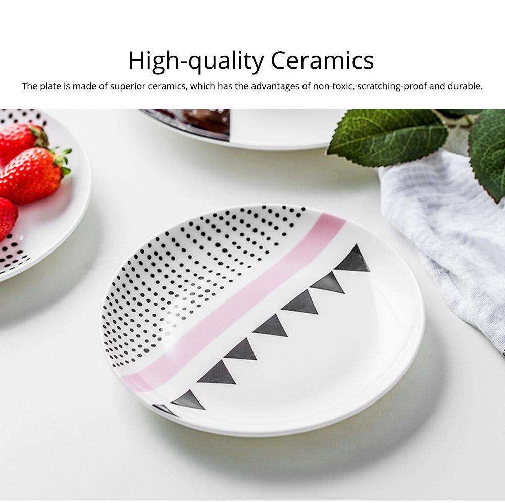 Minimalist Geometric Figure Dot Pattern Ceramics Dish, Delicate Elegant Pretty Fruit Food Steak Breakfast Plate 1