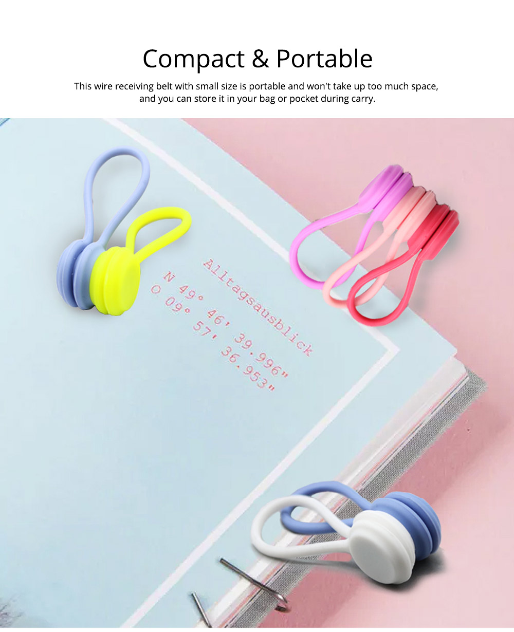 Flexible Silicone Date Wire USB Charger Earphone Management Organizer Tern Suit, Date Line Receiving Belt with Strong Magnet 3