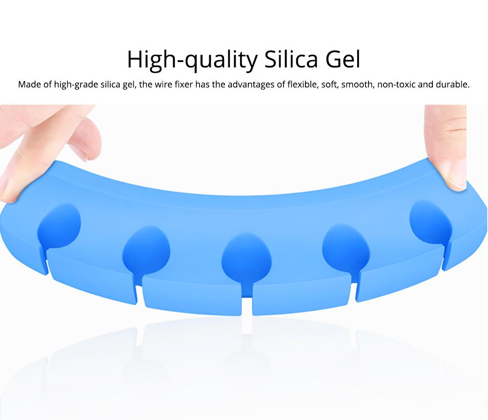 Soft Silica Desktop Gel Wires Fixer Holder, Silicone Data Lines USB Charging Lines Organizer Desk Management Assistance 1