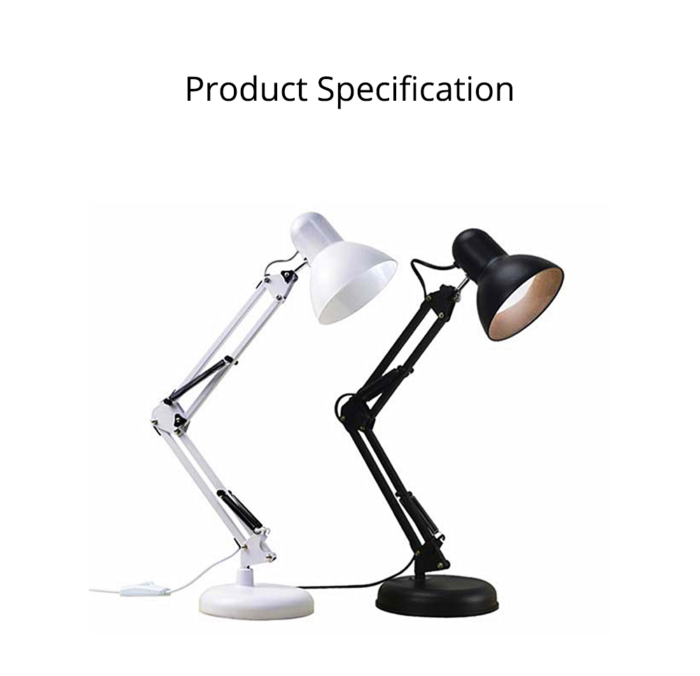 Classical Delicate Table Lamp Reading Light, Adjustable Solid ABS Metal Bedside Desktop Night Light Lamp 11