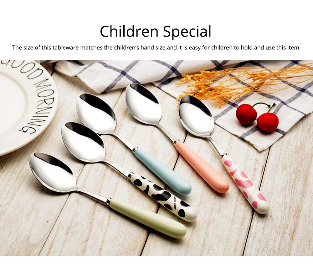 Delicate Stainless Carbon Steel Knife Fork Spoon 2PCS 3PCS Tableware Suit, Cute Cutlery Dinnerware with Stylish Ceramics Hand Grip for Children 6