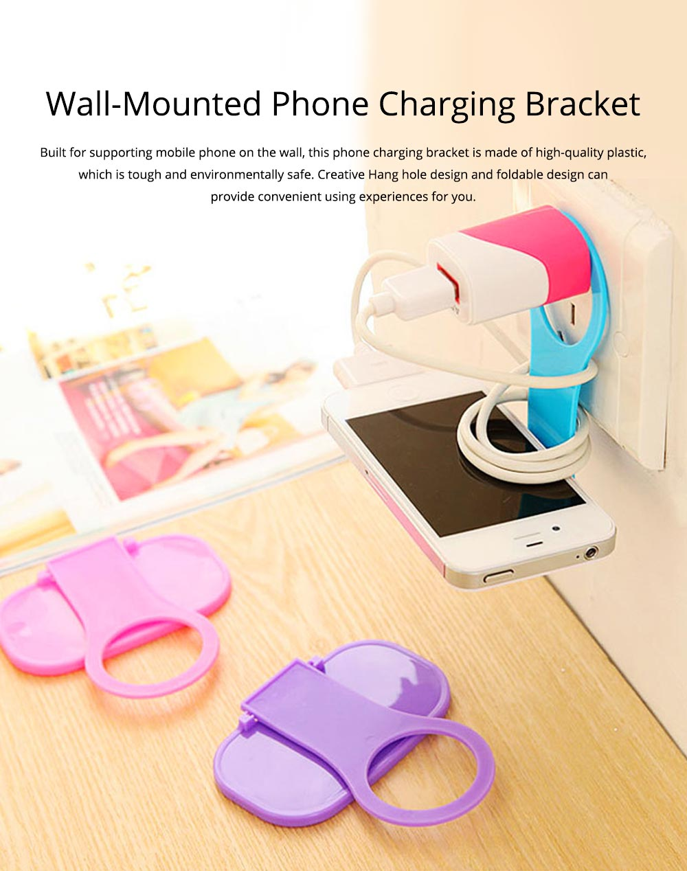 Creative Foldable Mobile Phone Charging Bracket Holder, Plastic Smart Phone Immobile Wall-Mounted Supporter Hanger 0