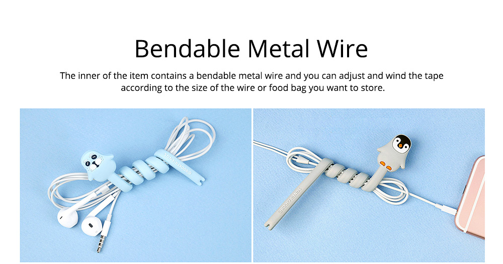 Delicate Cable Tidy Tie with Carton Animal Model, Bendable Metal Wire Earphone Data Lin Food Bag Organizer Strip 3