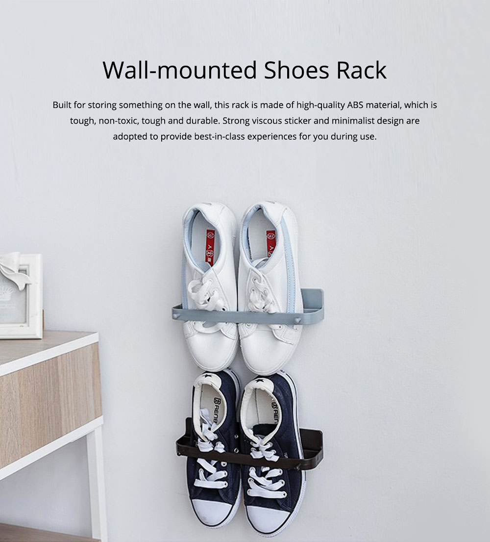 Minimalist Wall-Mounted Towel Holder Shoes Rack, Solid ABS Bathroom Firm Storage Wall ShelfWith Strong Viscous Sticker 0