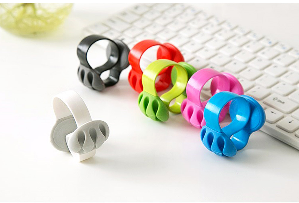 Silicone PP Plastic Deskside Retaining Clamp Wire Fixer Holder, Office Desktop Wire USB Charger Management Organizer Clip 5
