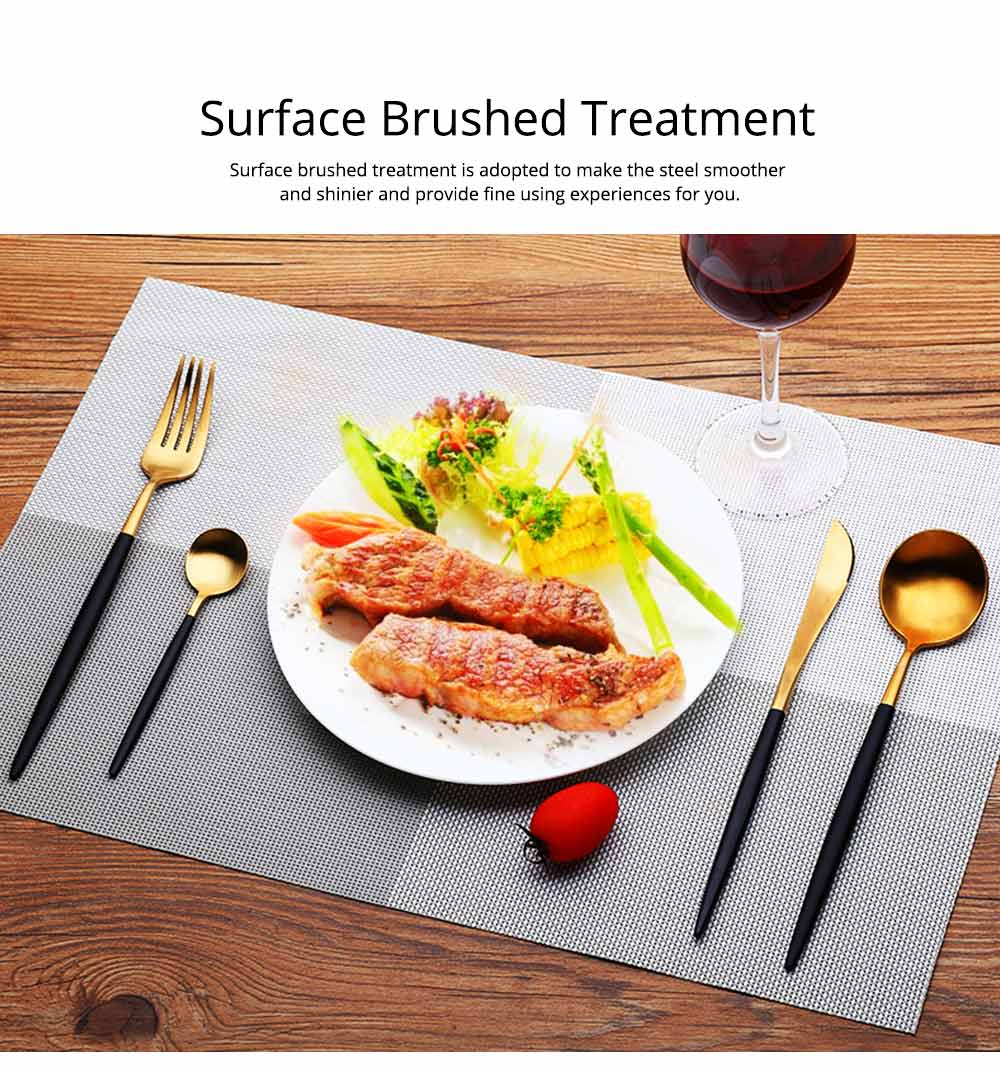 Fancy Golden Stainless Steel Dinner Spoon Fork Knife 2PCS 3PCS 4PCS Suit, Delicate Tableware Kitchenware Cutlery with Black Matte Hollow Handle 3