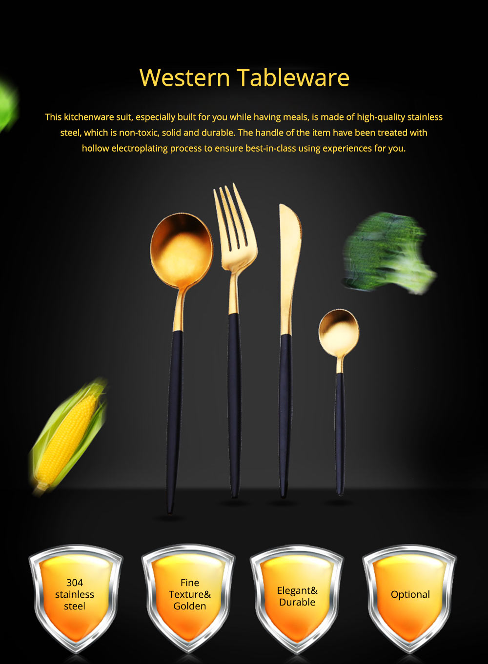 Fancy Golden Stainless Steel Dinner Spoon Fork Knife 2PCS 3PCS 4PCS Suit, Delicate Tableware Kitchenware Cutlery with Black Matte Hollow Handle 0
