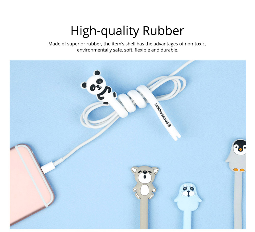 Delicate Cable Tidy Tie with Carton Animal Model, Bendable Metal Wire Earphone Data Lin Food Bag Organizer Strip 1