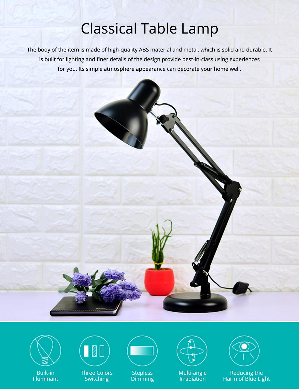 Classical Delicate Table Lamp Reading Light, Adjustable Solid ABS Metal Bedside Desktop Night Light Lamp 0