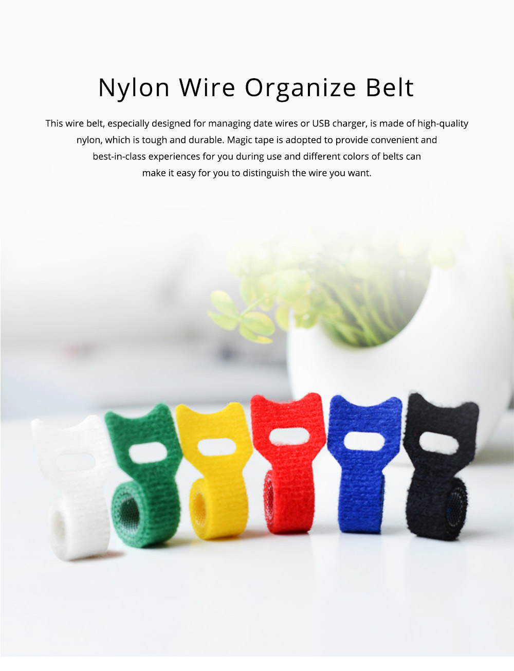 Tough Nylon Data Line Ware USB Charger Management Organizer, Colorful Charging Wire Holder Cable Magic Tape Tie Belt 0