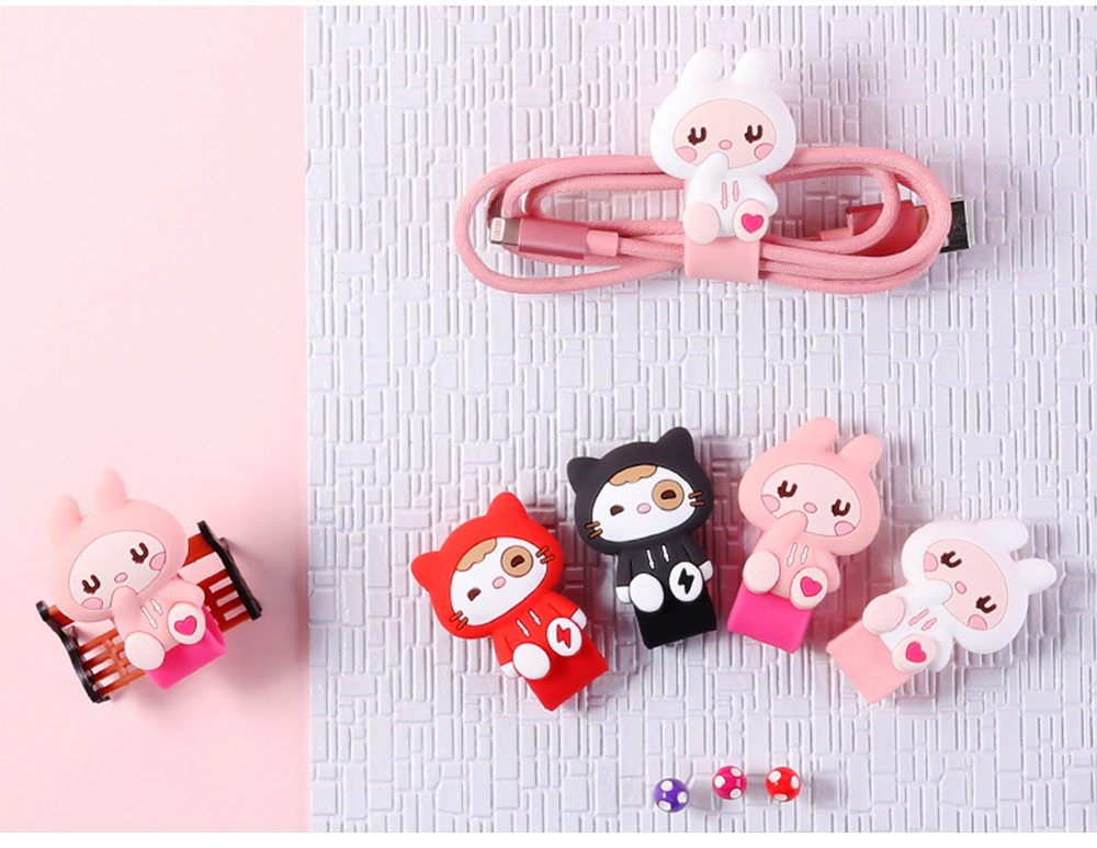 Creative Cute Carton Date Line Wire Earphone Organizer Cable, Soft Breaking-proof Silicone Line Protector Organizing Band with Metal Buckle 14