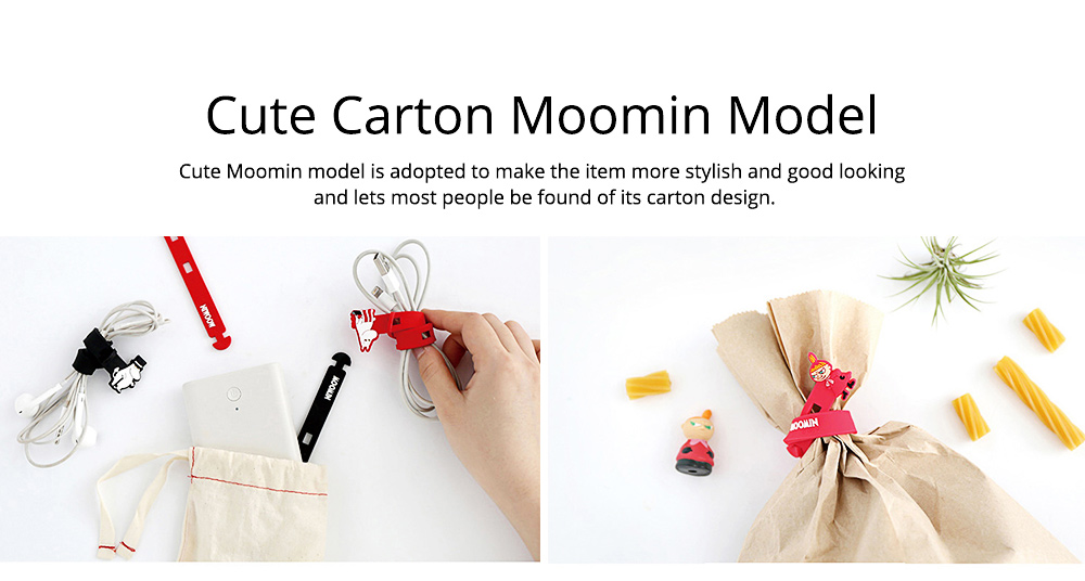 Fancy Soft Silicone Data Line Cable Tie Tidy, Cute Moomin Model Flexible USB Charger Food Bags Pens Organizer 5