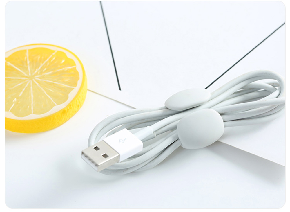 Soft Smooth Cable Wire Data Line Ties Organizer, 4PCS Silicone Phone USB Charger Earphone Holder Fixer 8
