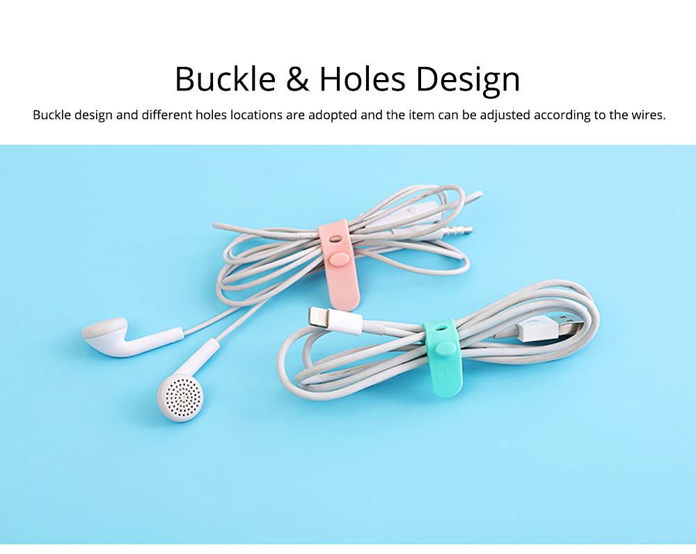 4PCS Ultrasoft Silicone Wire Management Organized Belt Band, Wearable Data Line Earphone Organizer Holder Buckle 5