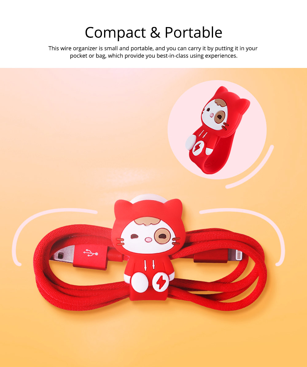 Creative Cute Carton Date Line Wire Earphone Organizer Cable, Soft Breaking-proof Silicone Line Protector Organizing Band with Metal Buckle 15