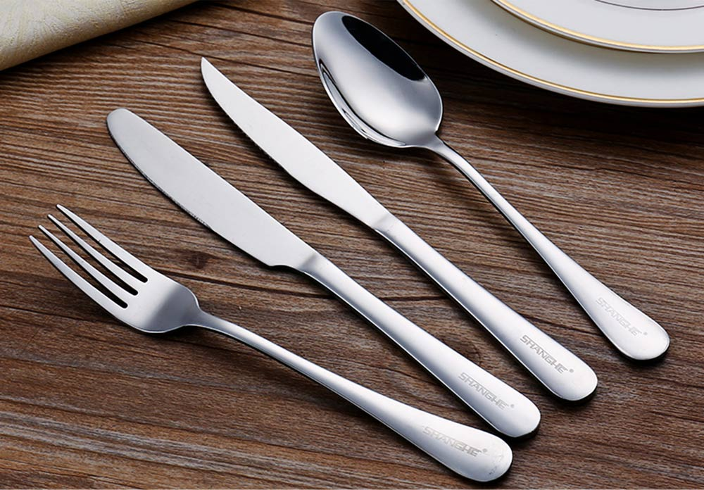 Simple Elegant Stainless Steel Knife Fork Spoon Cutlery Suit, Polishing Smooth Comfortable Tableware 2PCS 3PCS Set 2