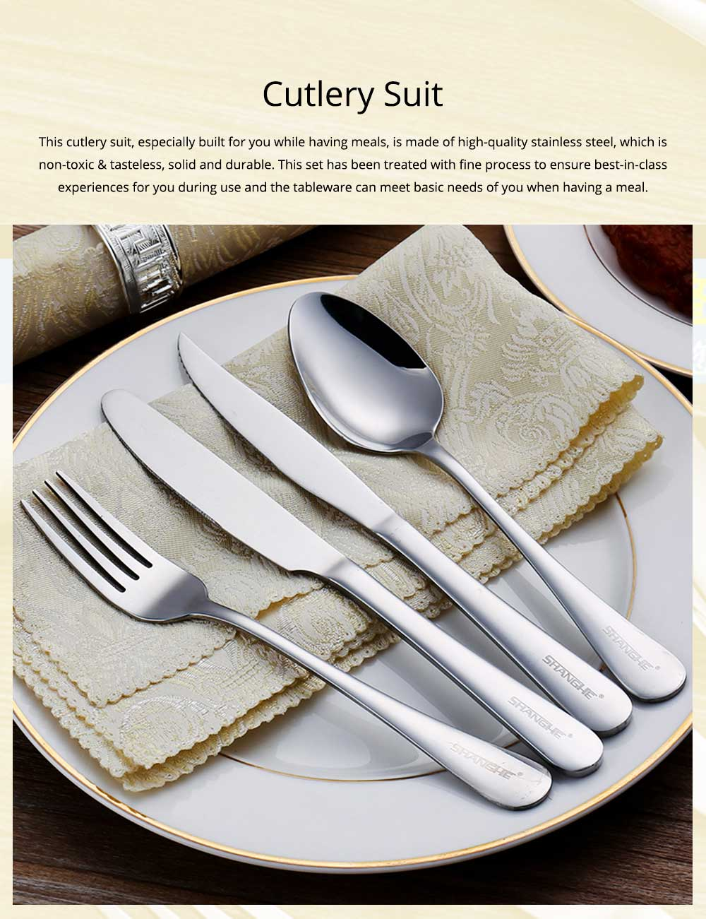 Simple Elegant Stainless Steel Knife Fork Spoon Cutlery Suit, Polishing Smooth Comfortable Tableware 2PCS 3PCS Set 0