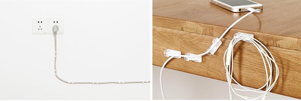 Durable ABS Small Data Wires Organizer Fixer, Desktop Deskside Wall Sticker Buckle Holder 5