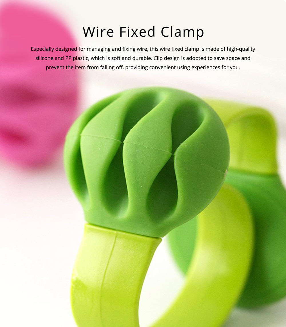 Silicone PP Plastic Deskside Retaining Clamp Wire Fixer Holder, Office Desktop Wire USB Charger Management Organizer Clip 0