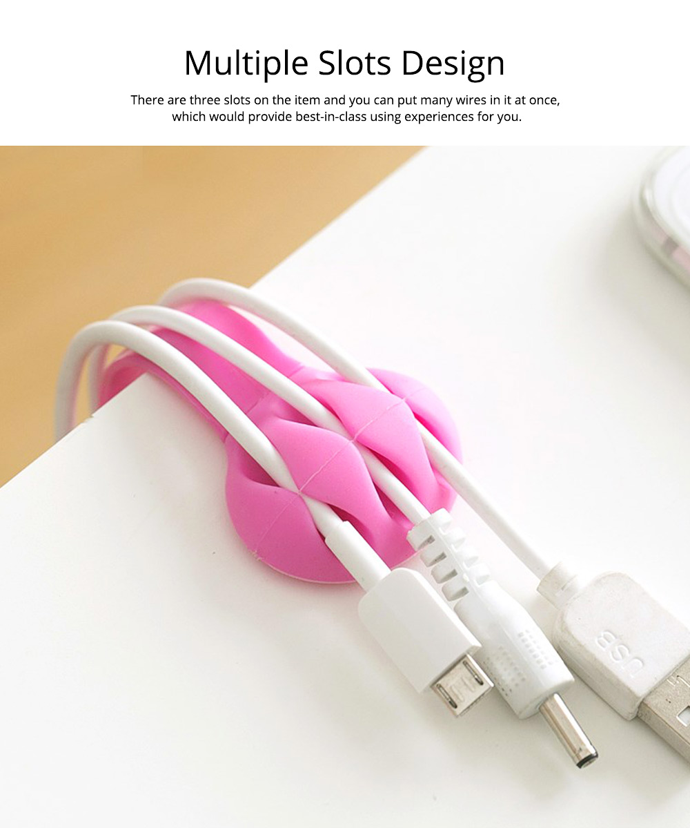 Silicone PP Plastic Deskside Retaining Clamp Wire Fixer Holder, Office Desktop Wire USB Charger Management Organizer Clip 3