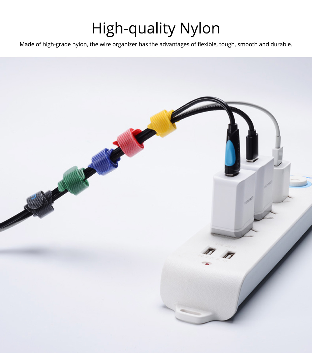 Tough Nylon Data Line Ware USB Charger Management Organizer, Colorful Charging Wire Holder Cable Magic Tape Tie Belt 1