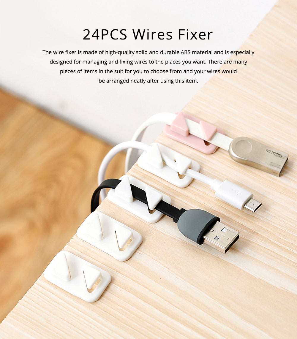 24PCS Durable ABS Date Wires Organizer Fixer Sticker, Stationary Desktop Wall USB Charger Management Holder 0