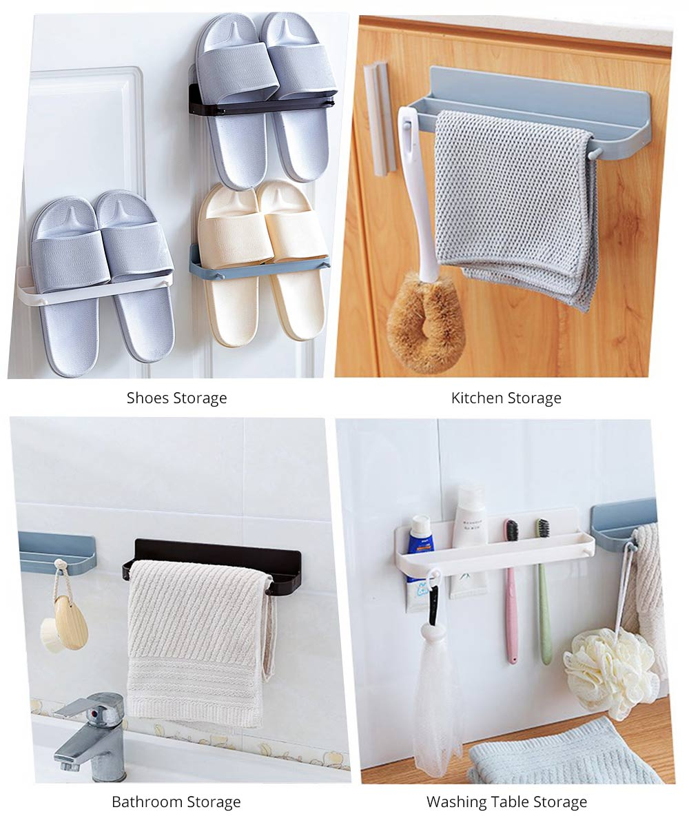 Minimalist Wall-Mounted Towel Holder Shoes Rack, Solid ABS Bathroom Firm Storage Wall ShelfWith Strong Viscous Sticker 3
