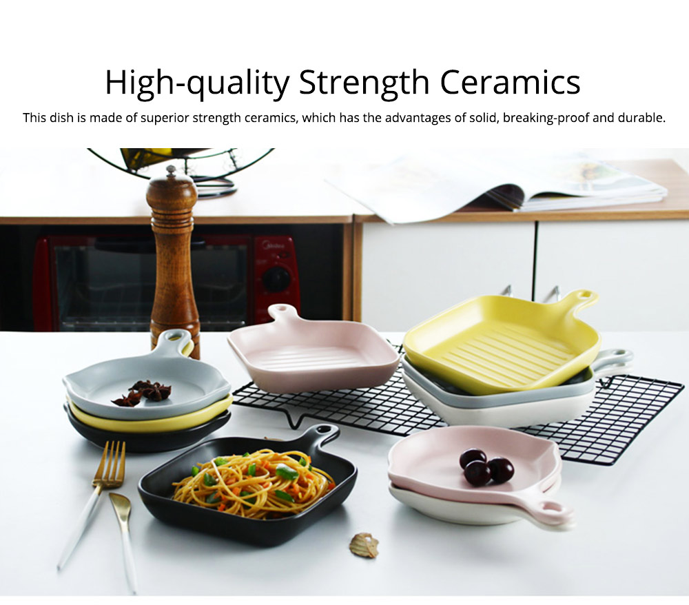 Minimalist Household Round Square Ceramics Dish with Handle, Classical Matte Colored Glazed Plate for Placing Food 1