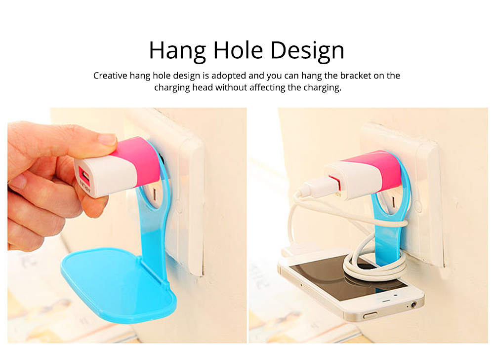 Creative Foldable Mobile Phone Charging Bracket Holder, Plastic Smart Phone Immobile Wall-Mounted Supporter Hanger 5