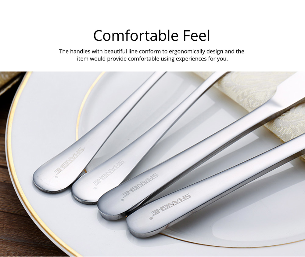 Simple Elegant Stainless Steel Knife Fork Spoon Cutlery Suit, Polishing Smooth Comfortable Tableware 2PCS 3PCS Set 7