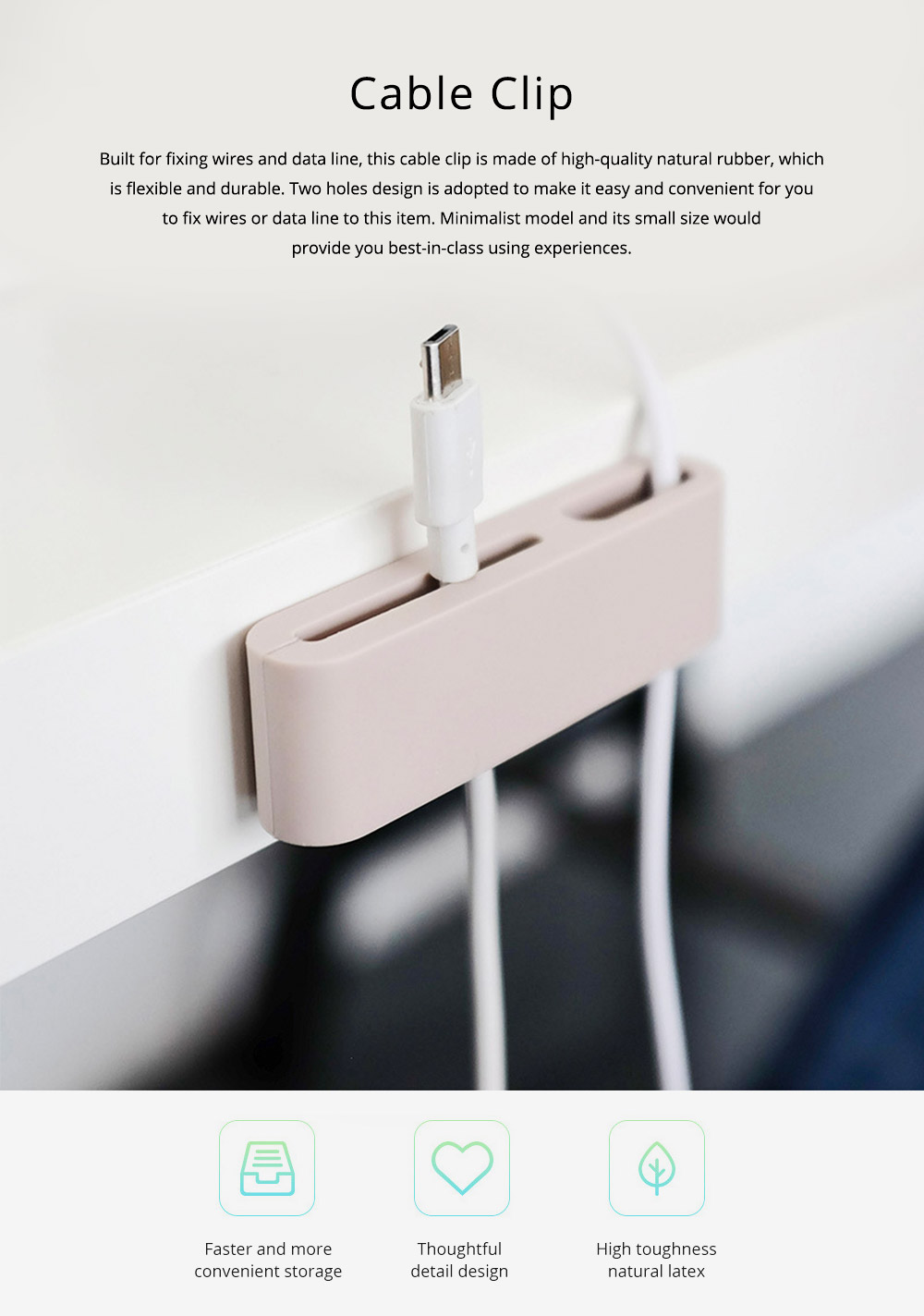 Minimalist Ultrasoft Natural Rubber Cable Clip Fixer, Multipurpose Wire USB Charger Data Line Organizer Holder 0