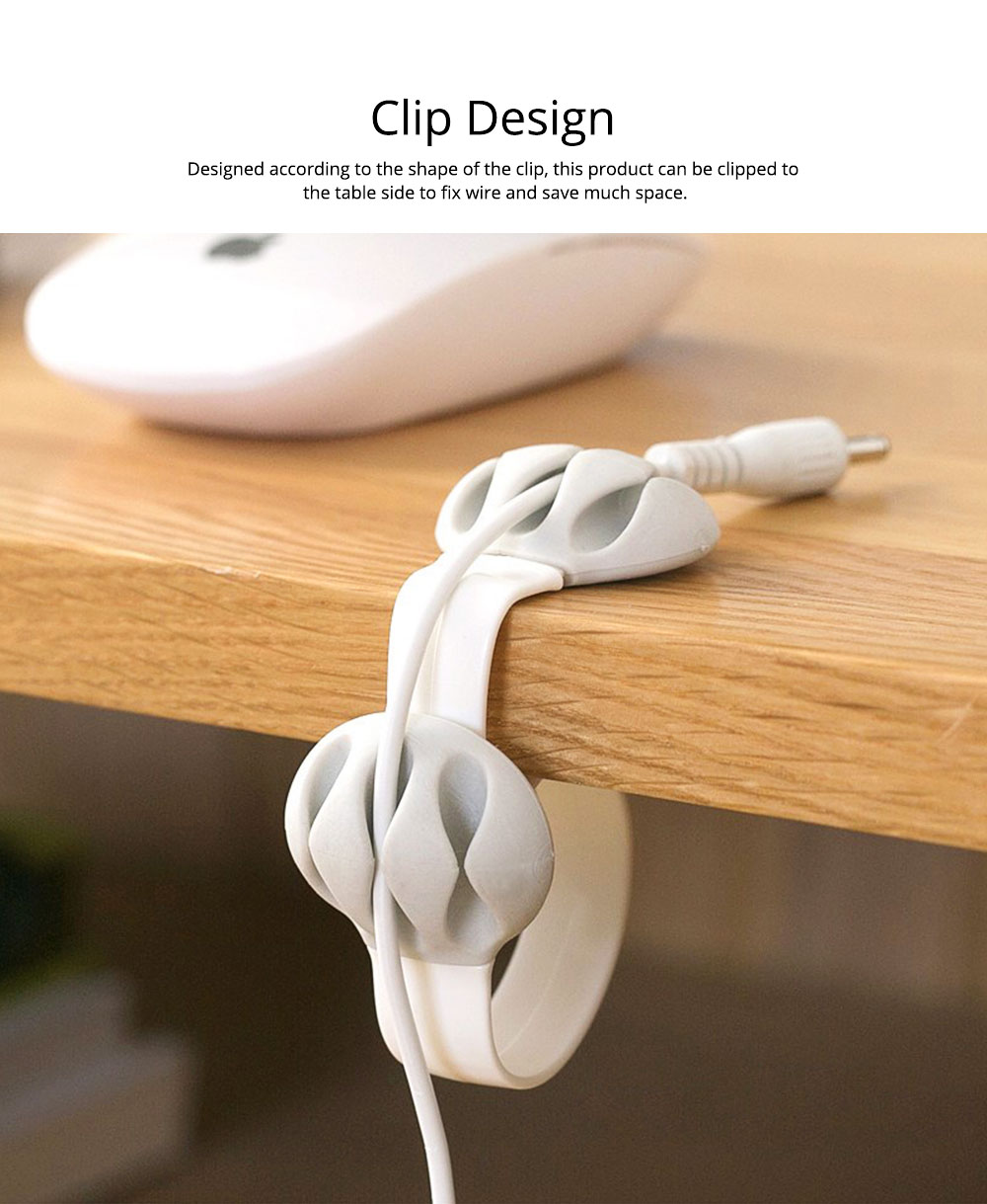 Silicone PP Plastic Deskside Retaining Clamp Wire Fixer Holder, Office Desktop Wire USB Charger Management Organizer Clip 4
