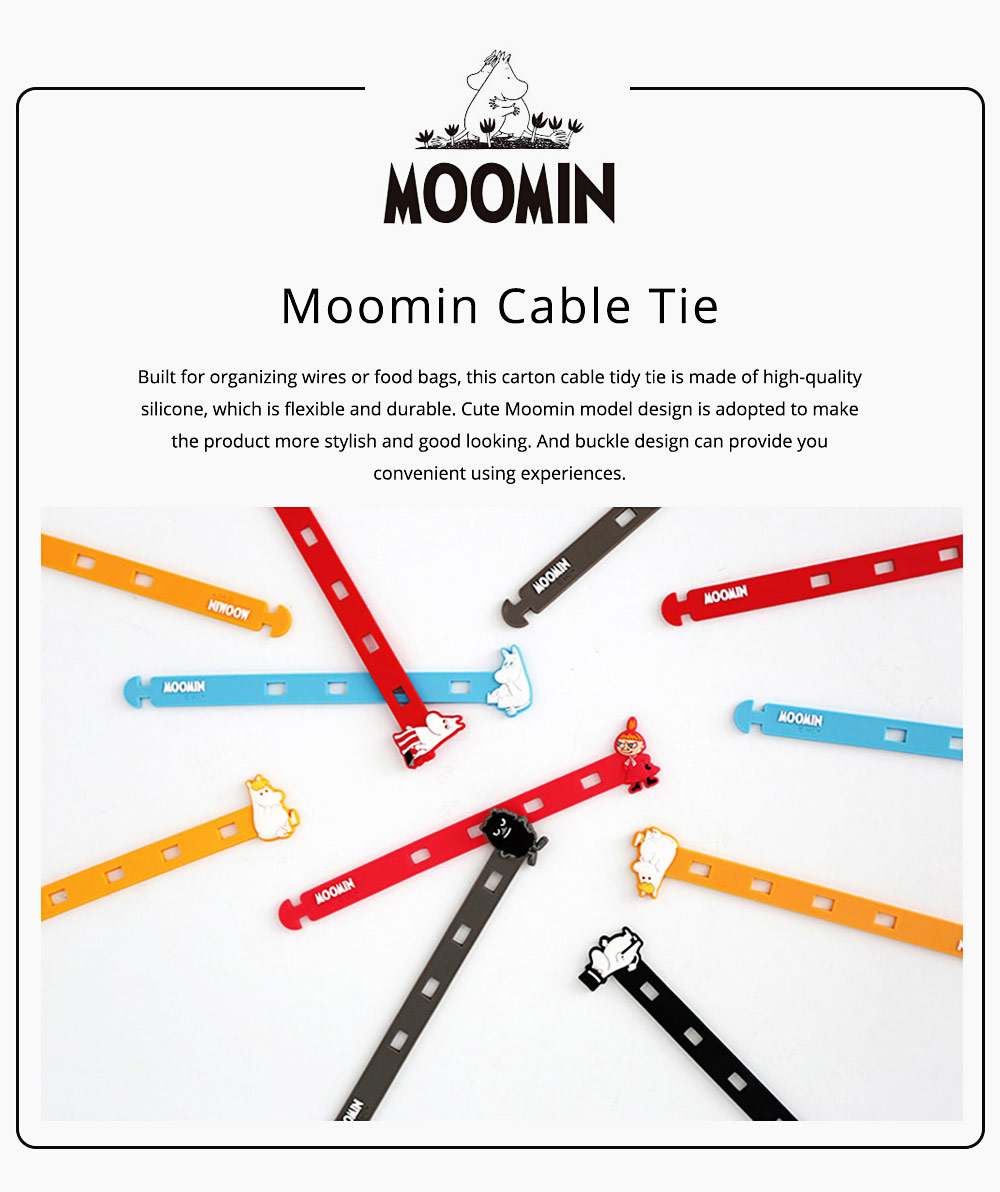Fancy Soft Silicone Data Line Cable Tie Tidy, Cute Moomin Model Flexible USB Charger Food Bags Pens Organizer 6