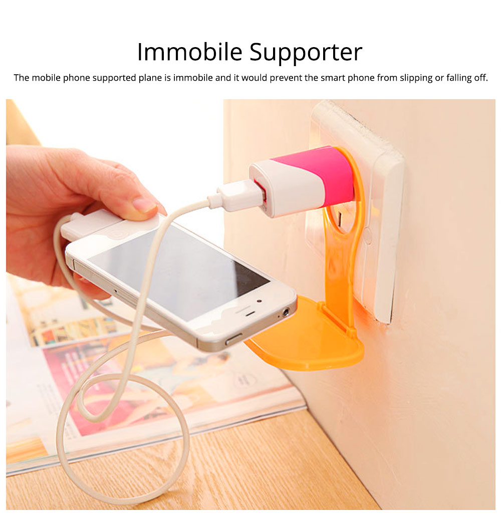 Creative Foldable Mobile Phone Charging Bracket Holder, Plastic Smart Phone Immobile Wall-Mounted Supporter Hanger 7