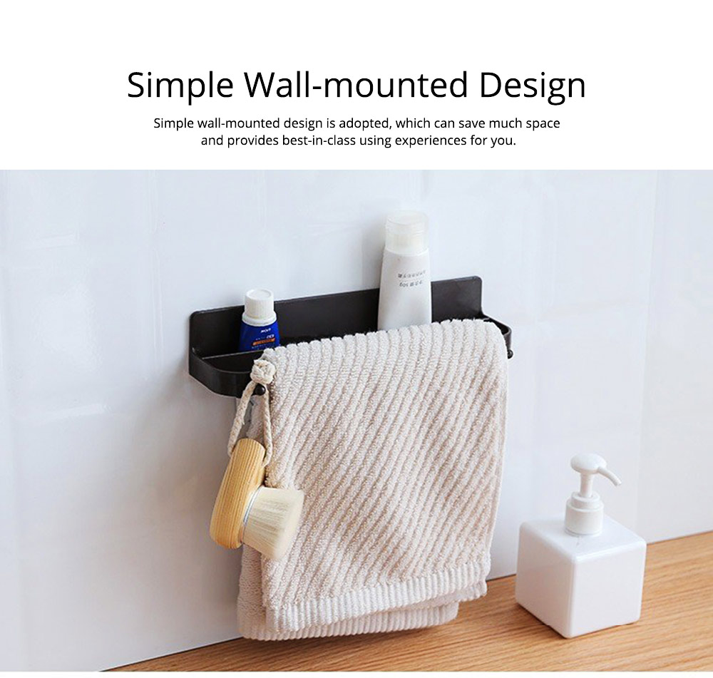 Minimalist Wall-Mounted Towel Holder Shoes Rack, Solid ABS Bathroom Firm Storage Wall ShelfWith Strong Viscous Sticker 2