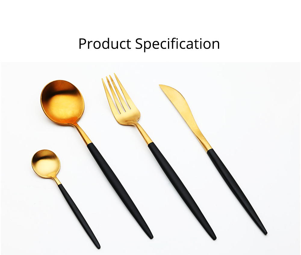 Fancy Golden Stainless Steel Dinner Spoon Fork Knife 2PCS 3PCS 4PCS Suit, Delicate Tableware Kitchenware Cutlery with Black Matte Hollow Handle 6