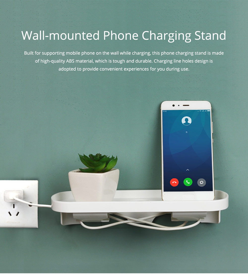 Minimalist ABS Mobile Phone Charging Stand Holder, Wall-mounted Seamless Adhesive Phone Supporter Shelf 0