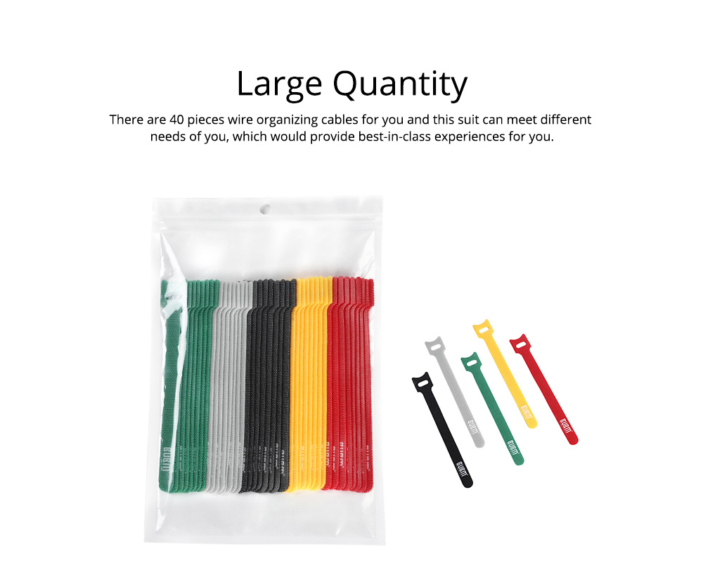 40PCS Colorful Date Line Earphone Power Line Organizer, Tough Nylon Velcro Magic Tape Sticker T-type Wire Organizing Cable 4
