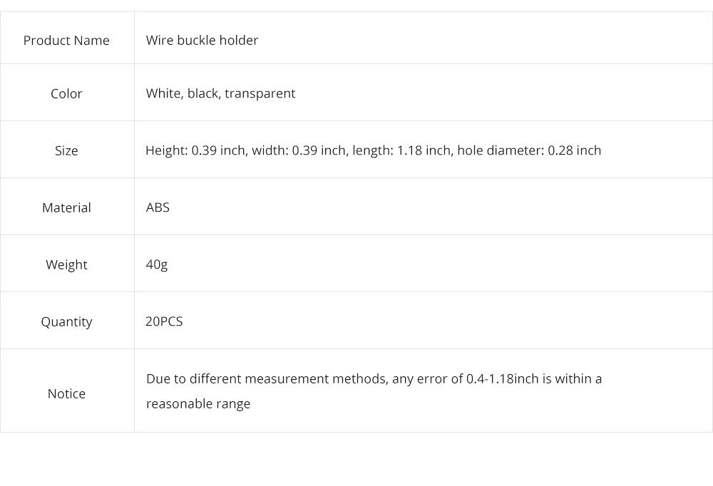 Durable ABS Small Data Wires Organizer Fixer, Desktop Deskside Wall Sticker Buckle Holder 12