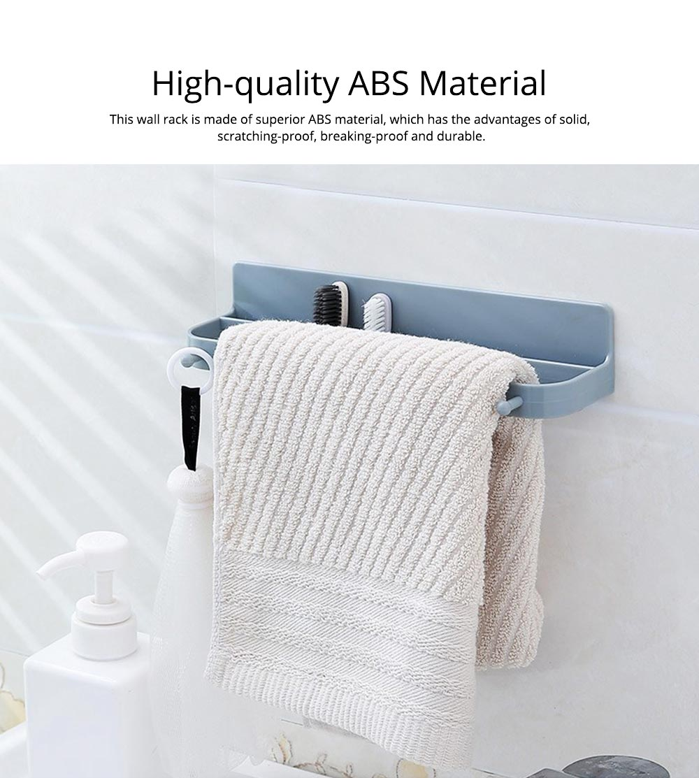 Minimalist Wall-Mounted Towel Holder Shoes Rack, Solid ABS Bathroom Firm Storage Wall ShelfWith Strong Viscous Sticker 1