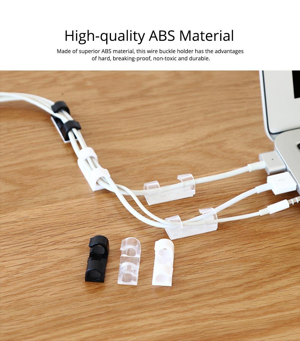 Durable ABS Small Data Wires Organizer Fixer, Desktop Deskside Wall Sticker Buckle Holder 1