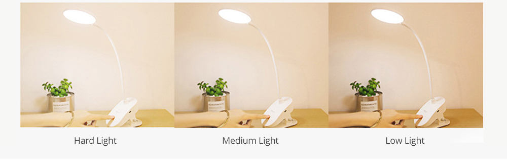 Flexible LED Table Headboard USB Charging Lamp with Clip, Round Shaped Head Night Light with Touch Sensor with 3 Modes 7