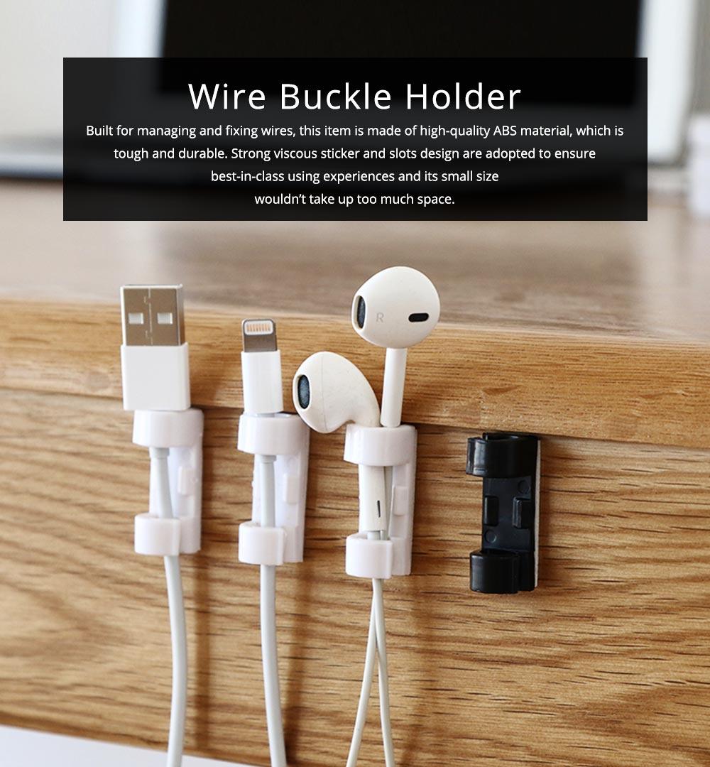 Durable ABS Small Data Wires Organizer Fixer, Desktop Deskside Wall Sticker Buckle Holder 0
