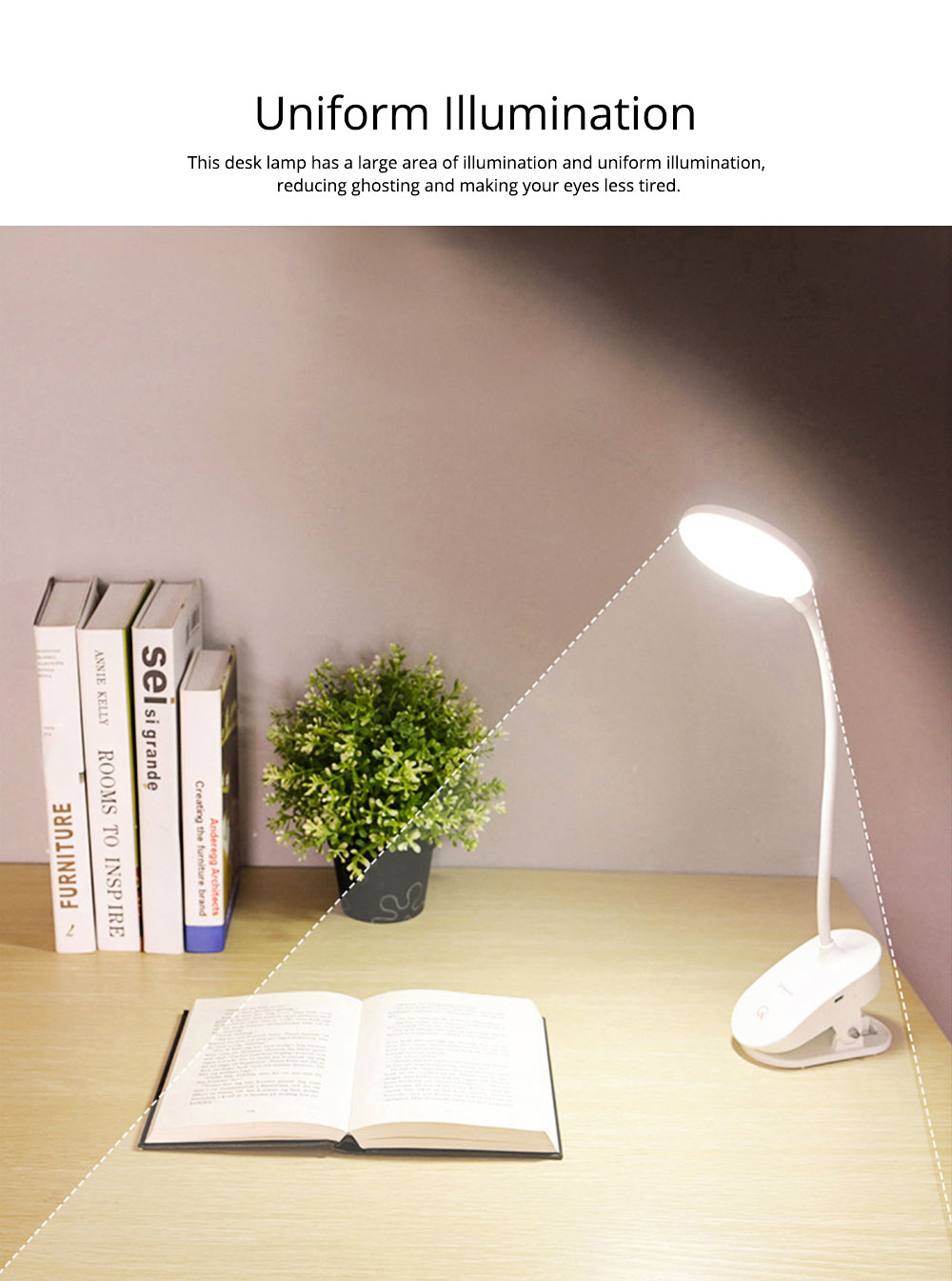 Flexible LED Table Headboard USB Charging Lamp with Clip, Round Shaped Head Night Light with Touch Sensor with 3 Modes 1