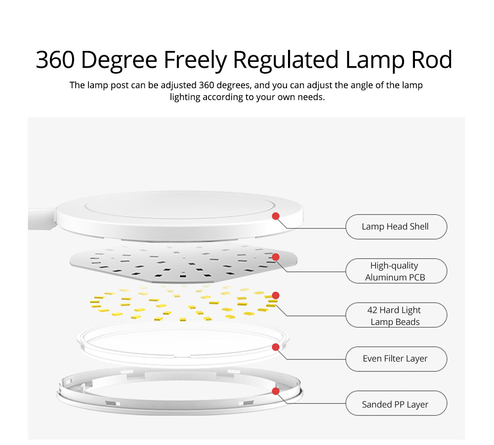 Flexible Eye Protection LED Table USB Charging Round Lamp, 3 Models Dimming Stepless Adjusted Light Lamp with Intelligent Touch 8