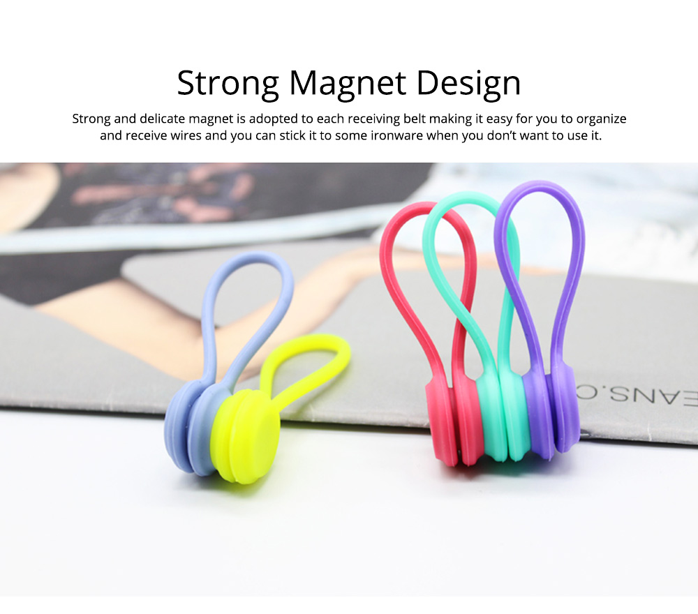 Flexible Silicone Date Wire USB Charger Earphone Management Organizer Tern Suit, Date Line Receiving Belt with Strong Magnet 6