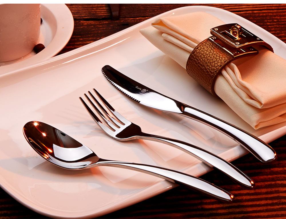 Stainless Steel Steak Knife Fork Spoon 3PCS Western Food Tableware Suit, Delicate Sharpe Smooth Surface Cutlery 2PCS Suit 8